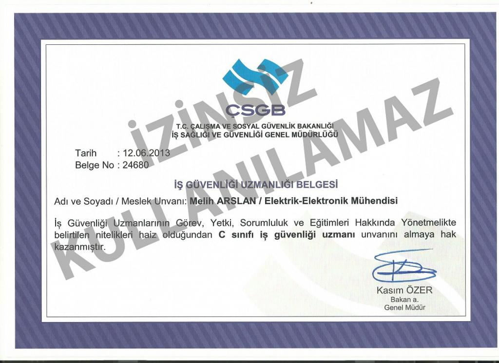 Melih Arslan - İSG Diploması